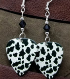 Cow Print Guitar Pick Earrings with Black Swarovski Crystals