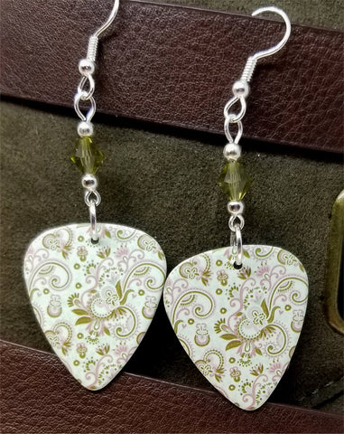 Pink and Green Flowers and Flourishes Guitar Pick Earrings with Green Swarovski Crystals