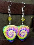 Brightly Colored Tie Dye Guitar Pick Earrings with Yellow Swarovski Crystals