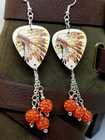 Skull with Native American with Headdress Guitar Pick Earrings with Orange Pave Bead Dangles