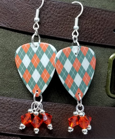 Gray and Orange Argyle Guitar Pick Earrings with Hyacinth Orange Swarovski Crystal Dangles