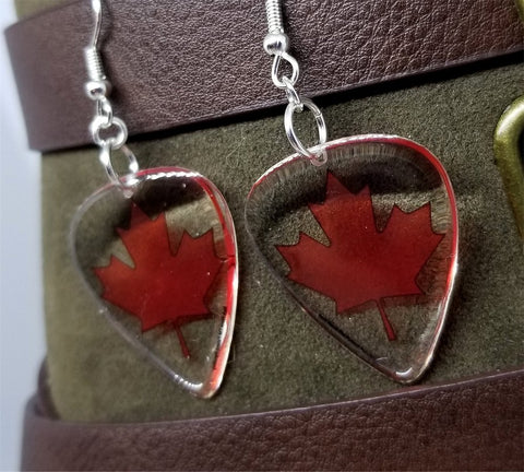 Canadian Flag Transparent Guitar Pick Earrings