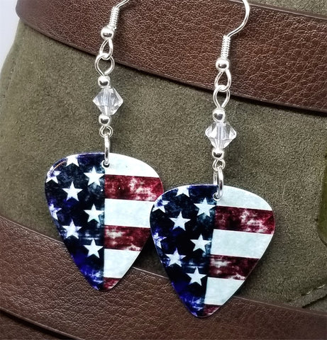 American Flag Section Guitar Pick Earrings with Clear Swarovski Crystals