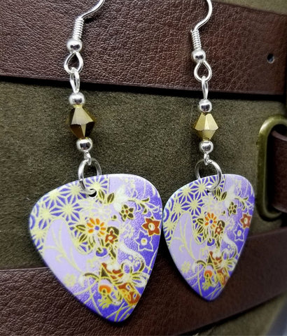 Purple Flowered Origami Paper Style Guitar Pick Earrings with Gold Swarovski Crystals