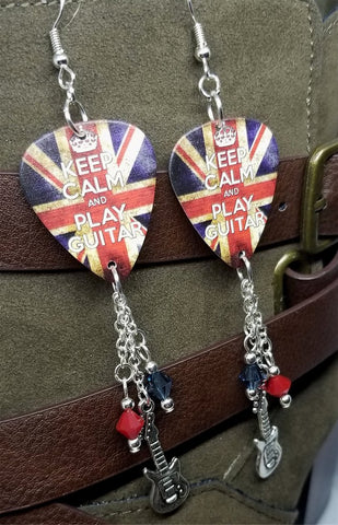 Keep Calm and Play Guitar British Flag Guitar Pick Earrings with Charm and Swarovski Crystal Dangles