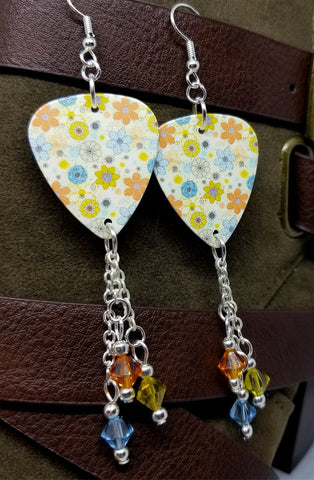 Green, Blue and Orange Flowered Guitar Pick Earrings with Swarovski Crystal Dangles