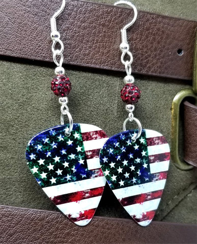 Distressed American Flag Guitar Pick Earrings with Red Pave Beads