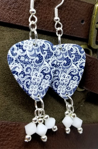 White Lace Pattern on Blue Guitar Pick Earrings with White Swarovski Crystal Dangles