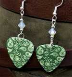 Gray and Off White Paisley Guitar Pick Earrings with Gray Opal Swarovski Crystals