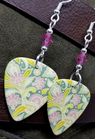 Flowered Green and Pink Guitar Pick Earrings with Pink Swarovski Crystals