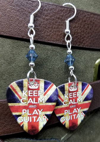 Keep Calm and Play Guitar British Flag Guitar Pick Earrings with Blue Swarovski Crystals