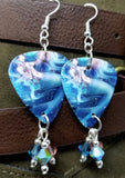 Anime Mermaid Guitar Pick Earrings with Swarovski Crystal Dangles