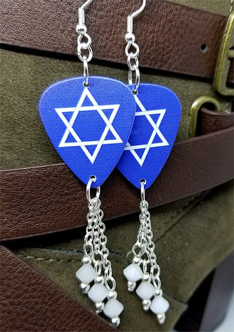 Star of David Guitar Pick Earrings with White Alabaster Swarovski Crystal Dangles