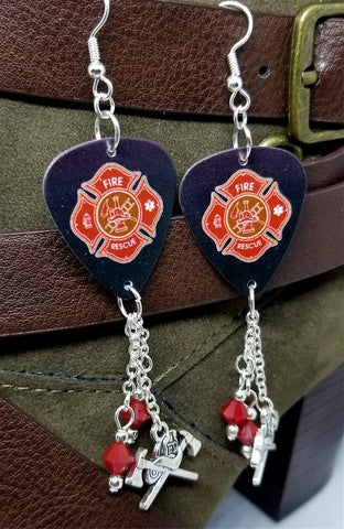 Fire Department Shield Charm Guitar Pick Earrings with Charms and Red Swarovski Crystal Dangles