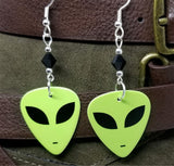 Alien Green Face Guitar Pick Earrings with Black Swarovski Crystals