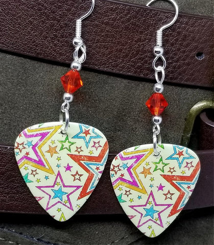 Yellow Starry Guitar Pick Earrings with Orange Swarovski Crystals