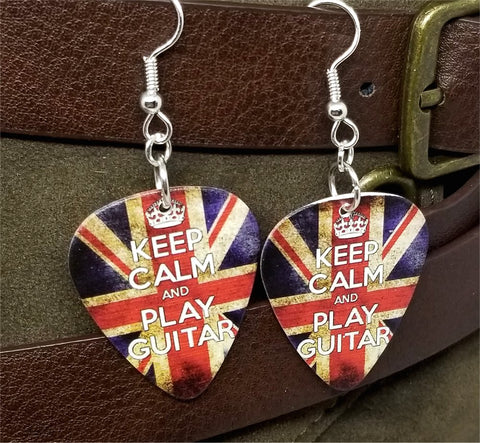 Keep Calm and Play Guitar British Flag Guitar Pick Earrings