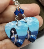 Mermaid Lounging Above Water Guitar Pick Earrings with Capri Blue AB Swarovski Crystals