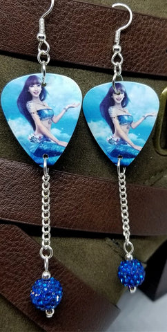 Mermaid Above Water Guitar Pick Earrings with Capri Blue Pave Bead Dangles