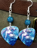Mermaid with Staff in her Hand Guitar Pick Earrings with Teal Pave Beads
