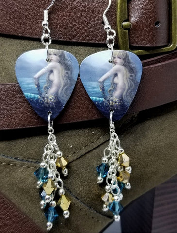 Mermaid Sitting Out of Water Guitar Pick Earrings with Cascading Swarovski Crystal Dangles