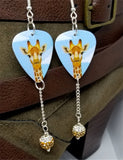 Giraffe Guitar Pick Earrings with Brown Ombre Pave Bead Dangles