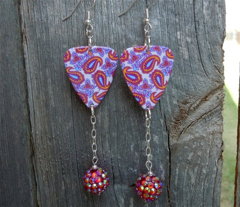 Fuchsia, Pink and Blue Paisley Guitar Pick Earrings with Rhinestone Dangles