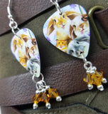 Bunny and Hamster Selfie Guitar Pick Earrings with Topaz Swarovski Crystal Dangles