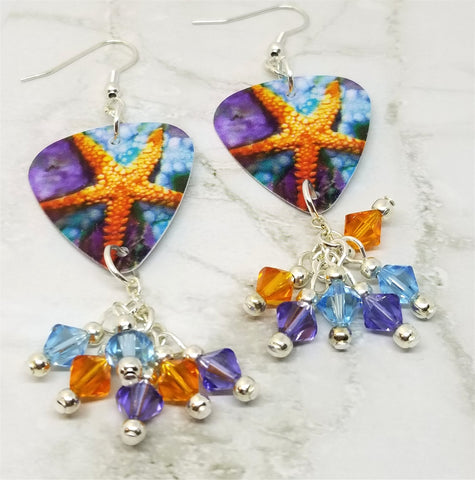 Vibrant Starfish Scene Guitar Pick Earrings with Swarovski Crystal Dangles