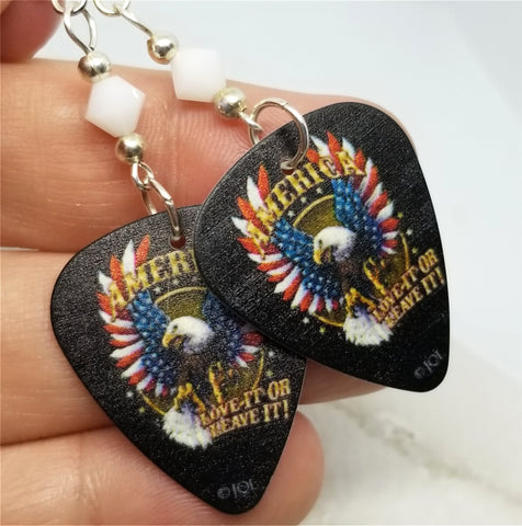 America Love It Or Leave It Eagle With Flag Wings Guitar Pick Earrings with White Swarovski Crystals