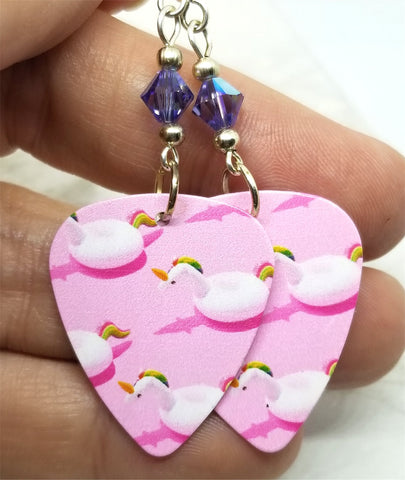 Unicorn Pool Floats Guitar Pick Earrings with Purple AB Swarovski Crystals