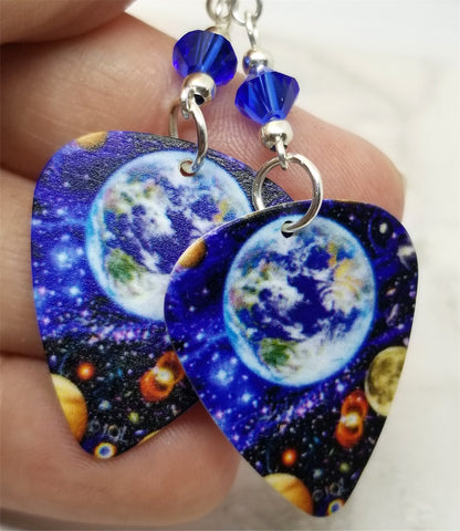 Planet Earth Guitar Pick Earrings with Blue Swarovski Crystals
