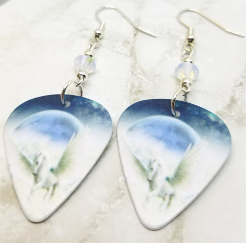 White Pegasus in the Clouds Guitar Pick Earrings with Opal Swarovski Crystals