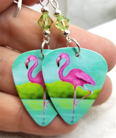 Pink Flamingo Guitar Pick Earrings with Green Swarovski Crystals