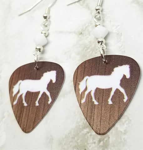 Horse Silhouette on Wood Grain Guitar Pick Earrings with White Swarovski Crystals