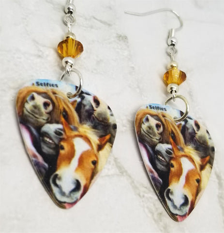 Horse Selfie Guitar Pick Earrings with Topaz Swarovski Crystals
