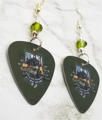 POW MIA Over a Motorcycle on Green Guitar Pick Earrings with Green Swarovski Crystals