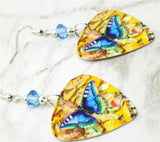 Blue Butterfly Guitar Pick Earrings with Aquamarine Blue Swarovski Crystals