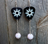 Tribal Sun on Black Guitar Pick Earrings with White Studded Rhinestone Bead Dangles