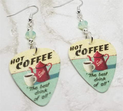 Hot Coffee The Best Drink of All Guitar Pick Earrings with Chrysolite Opal Swarovski Crystals