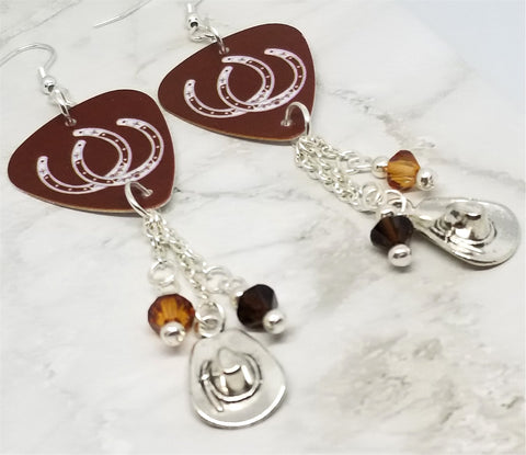 Horseshoe Guitar Pick Earrings with Cowboy Hat Charm and Swarovski Crystal Dangles