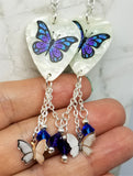 Blue and Purple Butterfly Guitar Pick Earrings with Charm and Swarovski Crystal Dangles