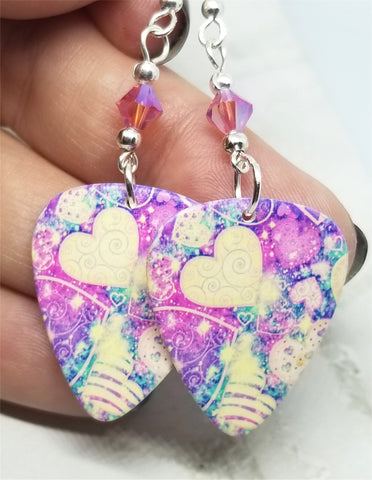 Colorful Heart Pattern Guitar Pick Earrings with Pink AB Swarovski Crystals