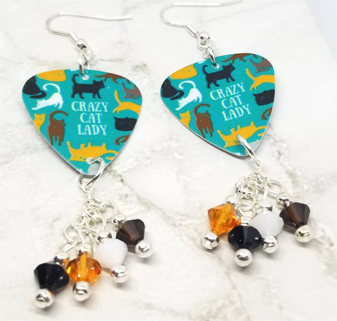 Crazy Cat Lady Guitar Pick Earrings with Swarovski Crystal Dangles