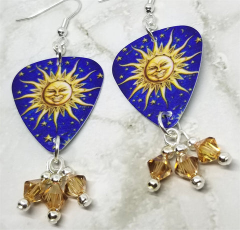 Sun and Stars Guitar Pick Earrings with Gold Swarovski Crystal Dangles