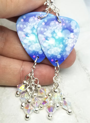 Snowflake Guitar Pick Earrings with Clear ABx2 Swarovski Crystal Dangles