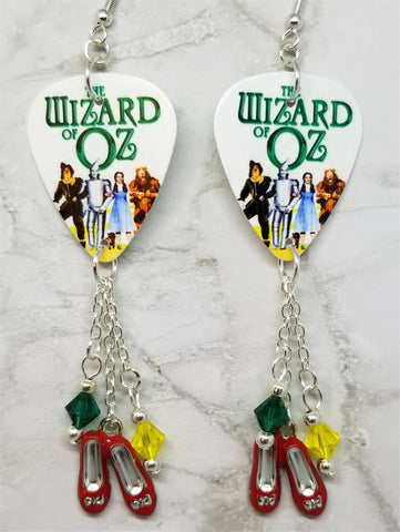 The Wizard of Oz Guitar Pick Earrings with Ruby Slipper Charms and Swarovski Crystal Dangles