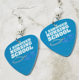 I Survived Nursing School Guitar Pick Earrings with White Swarovski Crystals