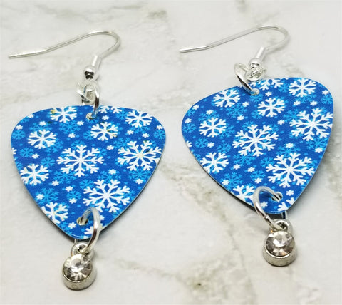 Snowflake Guitar Pick Earrings with Clear Crystal Charms