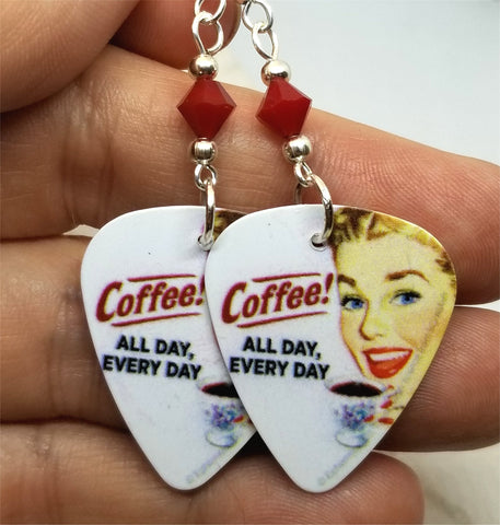 Coffee All Day Every Day Guitar Pick Earrings with Red Swarovski Crystals